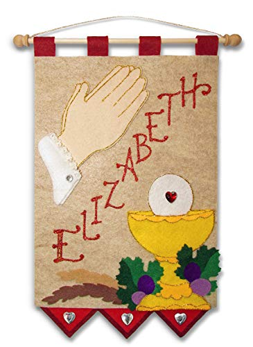 First Communion Banner Kit - 9 x 12 - Praying Hands - Red]()