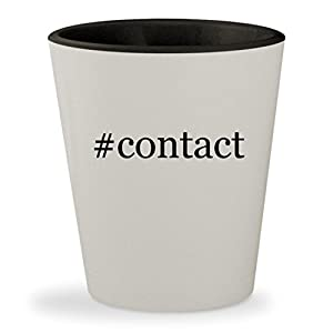 #contact - Hashtag White Outer & Black Inner Ceramic 1.5oz Shot Glass