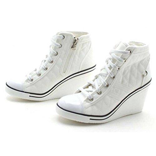 Epicstep Dames Canvas Schoenen Hoge Top Sleehakken Hoge Hakken Doorgestikte Casual Mode Sneakers Wit