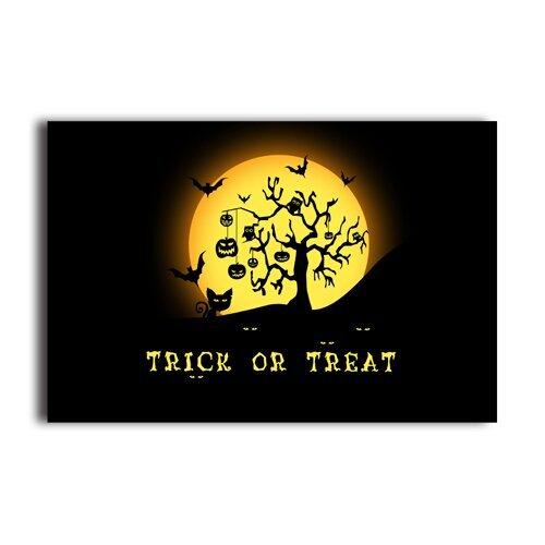 Treat Or Trick Dark Owl Pumpkin Design Wall Paper Halloween Decor Poster (Girly Halloween Wallpaper)