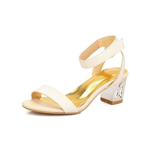 Pu Sandals Hook Open apricot Heels Kitten Solid and AgooLar Women's Loop Toe ESqwBBU