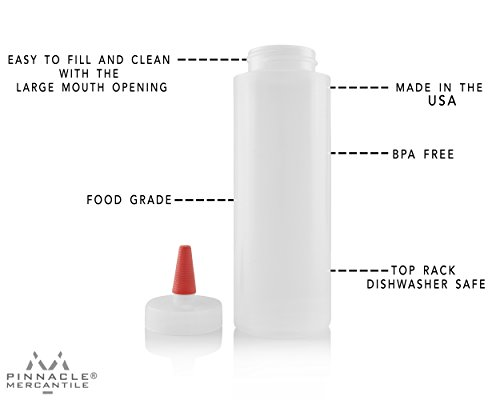 Pinnacle Mercantile Easy Squeeze Plastic Condiment Bottles 8-ounce Red Tip Cap - Set of 6