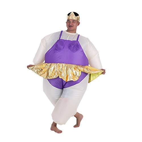 Cute Inflatable Ballerina Costume Fat Suit for Women/Men Air Fan Operated Blow Up Cosplay Party Fancy Jumpsuit Outfit