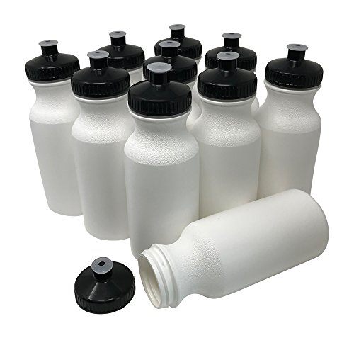 CSBD Blank 20 oz Sports and Fitness Squeeze Water Bottles, BPA Free, HDPE Plastic, Bulk (White Bottle - Black Lid, 10 -