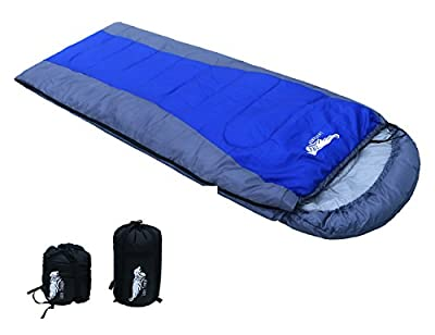 Luxe Tempo Large Size Thermal Sleeping Bag Compact Lightweight with Hood All Season Camping Sleep Sack with Waterproof Ripstop Shell Blue