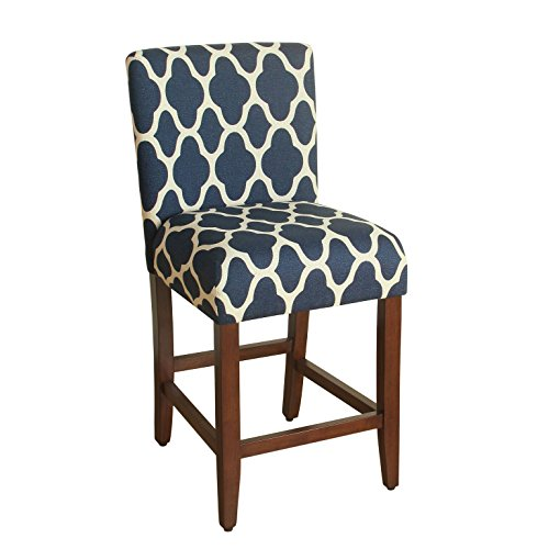 HomePop Upholstered Counter Height Barstool, 24-inch, Navy and Cream Geometric ()