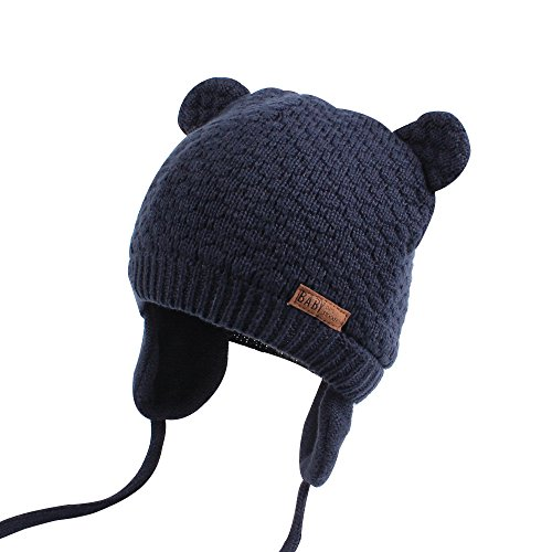 Hat Cute Bear Toddler Earflap Beanie for Fall Winter (0-7Months, Navy) ()