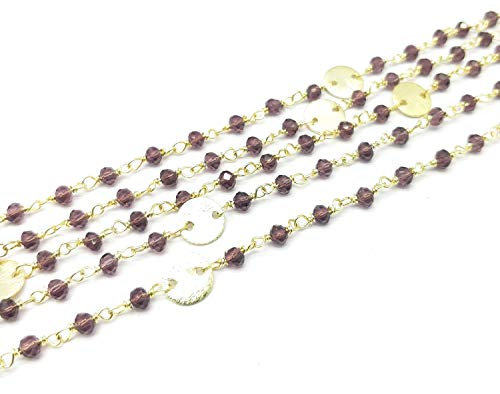 100 Feet Rhodolite Garnet Hydro 3-3.5mm Rondelle Faceted Round Charm 24K Gold Plated Rosary Chain by LadoNarayani