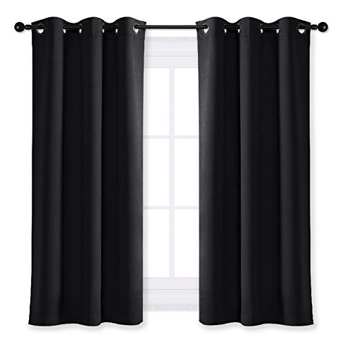 (NICETOWN Black Out Curtain Panel Shade Black Solid Energy Efficient Eyelet Top Window Blind for Guest Room (Single Piece, 42 inches Wide by 63 inches Long, Black))