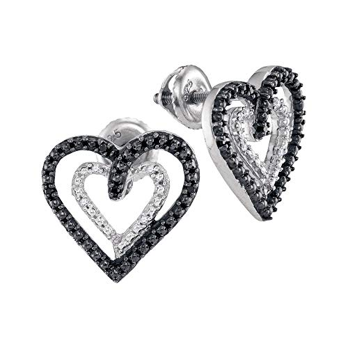 Shaped Earrings Round Diamond Heart - The Diamond Deal Sterling Silver Womens Round Black Color Enhanced Diamond Double Heart Stud Earrings 1/20 Cttw