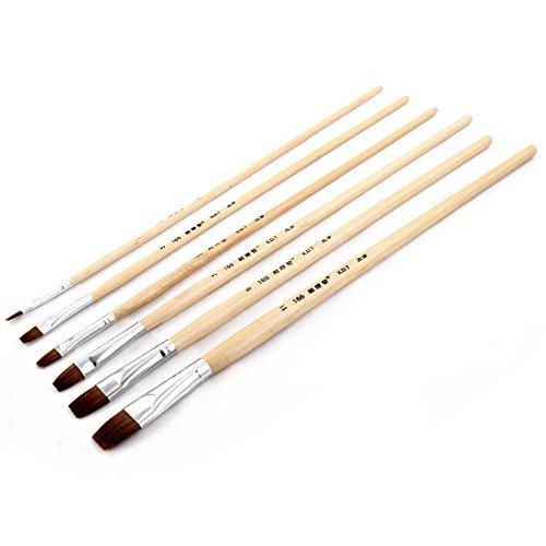 DealMux Nylon cabelo punho de madeira, Pintura Student artista da aguarela face acrílica, pincéis Plano ponta escova, Set, Bege PT_DLM-B0727YWXLQ