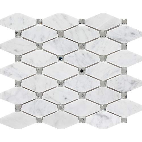 Diamond Tile Mosaic (White Italian Carrera Marble Mosaic Wall Tile Long Hexagon with Diamond Mosaic Tile for Kitchen Backsplahsh Bathroom)