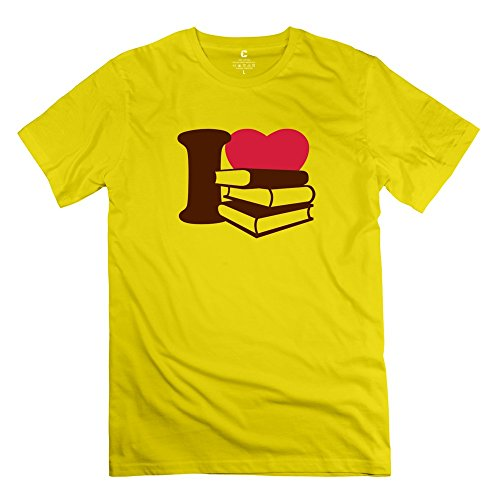 I Love Books 100% Cotton Male T Shirt Yellow Size XS Cool By Rahk ()