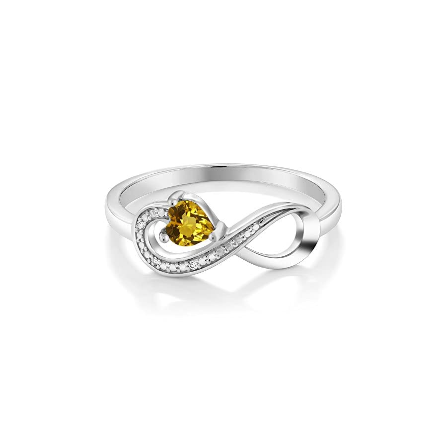 10K White Gold 0.22 Ct Heart Shape Yellow Citrine and Diamond Infinity Ring (Available 5,6,7,8,9)