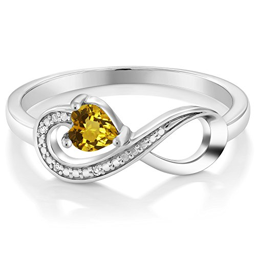 10K White Gold 0 22 Ct Heart Shape Yellow Citrine and Diamond