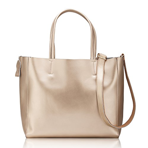 Crinkle Leather Tote - Women' s Casual Shoulder Bag Handbag Cross Body and Large Capacity Bag of Pearl Leather (Genuine Leather )