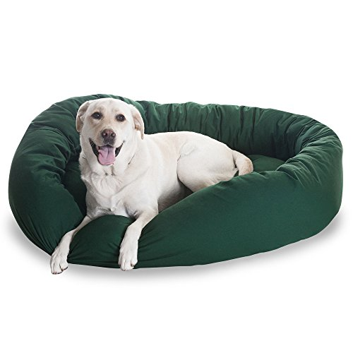 1 Piece Hunter Green Extra Large 52 Inches Comfort Pet Bed, Deep Green Color Donut Style Oval Plush Dog Bedding, Bolster Cushion Luxurious Unique Durable Raised Sides Waterproof Polyester Cotton Twill For Sale