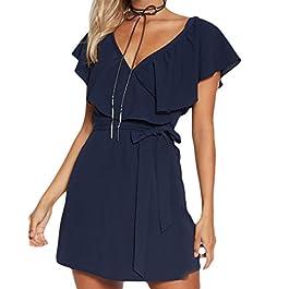 YOINS Women Sexy Mini Dress Short Sleeves Summer Deep V Neck Dresses Flounced Design Casual Dress