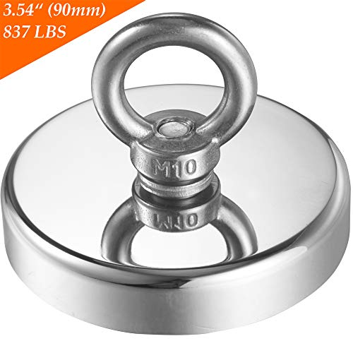 Wukong 837LBS(380KG) Pulling Force Super Powerful N52 Round Neodymium Magnet with Countersunk Hole and Eyebolt Diameter 3.54(90mm) X Thick 0.70(18mm) for Fishing Magnet.