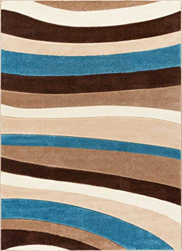 (Temptation Waves & Stripes Blue Beige Brown Modern 8x10 8x11 ( 7'10