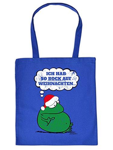 Weihnachten kommt immer näher - Stofftasche mit Druck - ICH HAB SO BOCK AUF WEIHNACHTEN.. - Geschenkidee. Royal-Blau