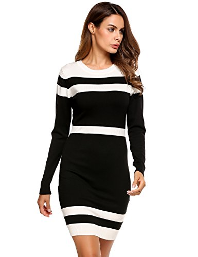 Beyove Women's Striped Color Block Long Sleeve Stretchy Sweater Bodycon Mini Dress Black,Medium (Sweater Boots Dresses)