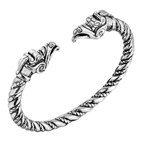AILUOR Men's Double Head Dragon Bracelet, Norse Viking Adjustable Stainless Steel Gold Sliver Cuff Cool Polished Twisted Arm Ring Cable Bangles Pagan Jewelry (Silver-3)