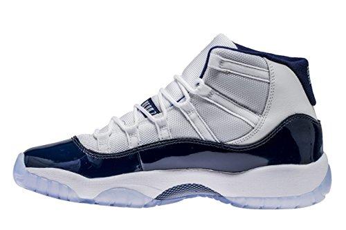 para 123 en 11 NIKE Hombre Air Retro Piel Blanco Zapatillas Jordan Tejido 378038 Azul y 6XwnZFqw