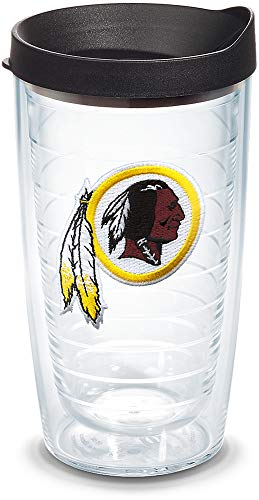Tervis 1034441 NFL Washington Redskins Primary Logo Tumbler with Emblem and Black Lid 16oz, Clear
