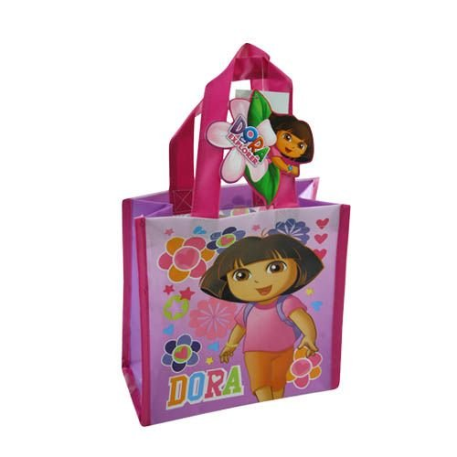 Woven Mini Labels - 12-Pack Dora the Explorer Non-Woven Mini Party Tote Bags