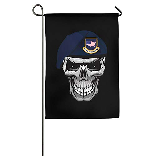 HUVATT Always Faithful Army Skull Vector Garden Flag Indoor & Outdoor Decorative Flags for Parade Sports Game Family Party Wall Banner 28x40 inches]()