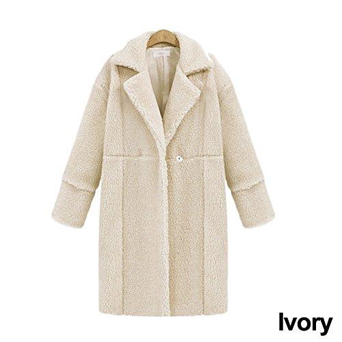 jannyshop Mujeres Invierno Cálido Outwear Ropa Chaqueta de lana de cachemir manga larga color sólido abrigo medias, crema, Medium Crema