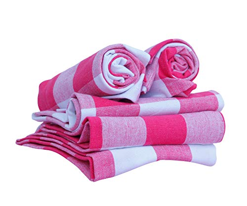 Cotton Buffalo Check Plaid Dish Towels, (18x28, Set of 3) - Buffalo Sized checkboxes in Pink and White for Family Dinner, Christmas Decor, Weekend Parties, Farmhouse Decor, Tea Towels & Everyday Use