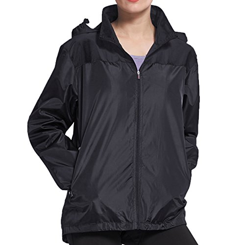 BELE ROY Women's Waterproof Cycling Bike Jacket, Running Rain Jacket, Windbreaker with Hood Breathable Lining (XXL Black)