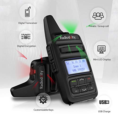 Radioddity GD-73A 2W Dual Time Slot DMR/Analog Two Way Radio, 2600mAh UHF  Ham Amateur Radio, USB Charging & Programming, Compact Long Range Walkie