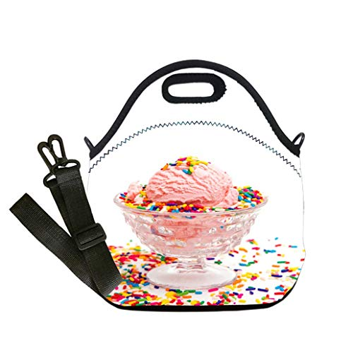 (Lunch Box Insulation Lunch Bag Large Cooling Tote Bag Neoprene Insulated Lunch Tote Bag Simple Pink Ice Cream in a Crystal Sherbert Dish Multicolor,for Adults and children waterproof Lunch)