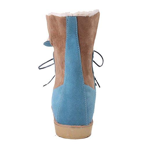 AllhqFashion Mujeres Cordones Mini Tacón Gamuza(Imitado) Colores Surtidos Tobillo Botas Azul