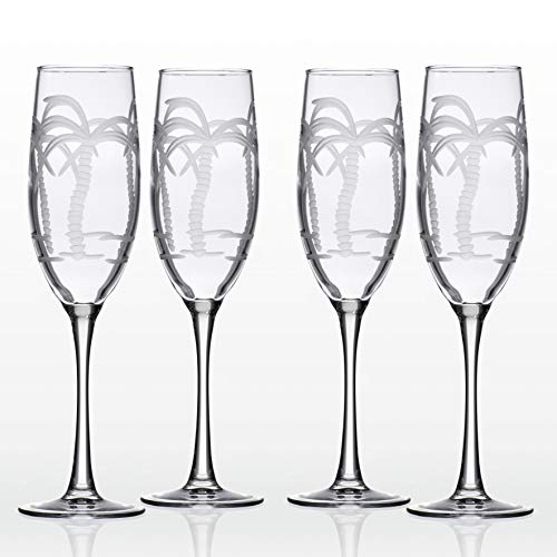 Rolf Glass Palm Tree Champagne Flutes, 8 Ounce, Set of 4