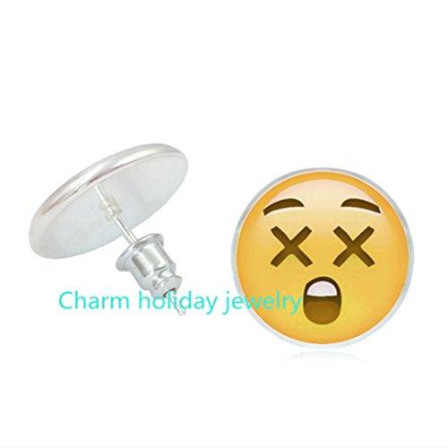 surprised face emoji earrings - shocked face emoji earrings - amazed emoji earrings - emoji studs - polymer clay earrings