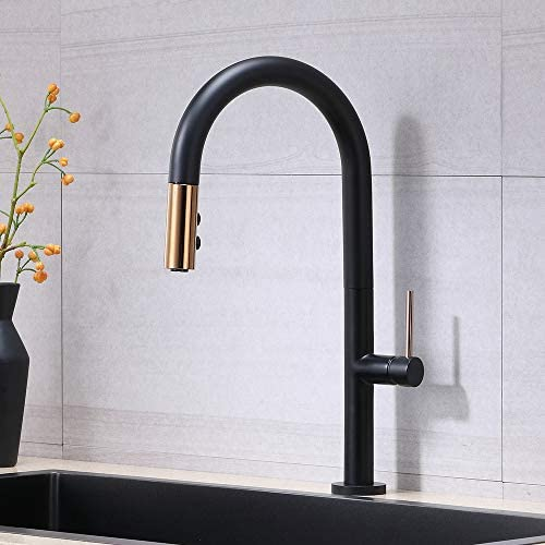 VESLA HOME Mordern High Arc Matte Black and Gold Single Level Stainless Steel Pull Out Kitchen FaucetSingle Handle One Hole Solid Brass Kitchen Sink FaucetsPull Down Sprayer.
