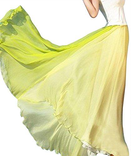 URqueen Women's Retro Chiffon Stitching Long Maxi Skirt Vintage Dress Green