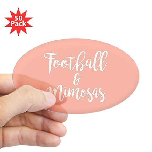 CafePress - Football And Mimosas - Sticker (Oval 50 pk) by CafePress