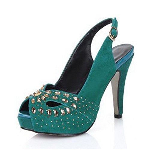 AllhqFashion Womens Peep Toe Sheepskin High Heels Solid Sandals with Studded Rhinestones Blue LuTKOd4i