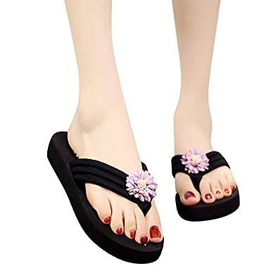 Flower Toe Thong Flat Sandals Clip Toe Non-Slip Beach Shoes Casual Slip-On Platform Heels 1.18 Womens Bohemian Wedges Flip-Flops Slippers