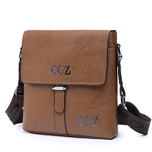 CCZ Leather Shoulder Bag, Men Magnetic Classic Business Adjustable Messenger Bag Crossbody Bag Tablet Bag Handbag ()