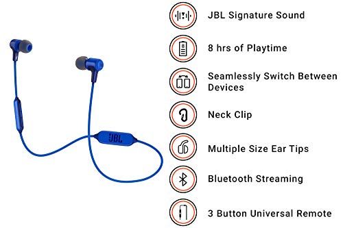JBL E25BT Signature Sound Wireless in Ear Headphones with Mic Blue