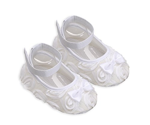 """""""Petals Collection"""" White Christening, Baptism, Dedication, Blessing Shoes for Baby Girl with White Rosette Flowers (Size 3)"""