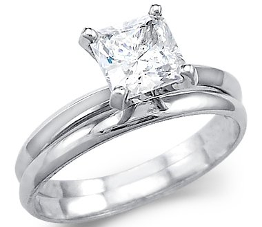 Amazon Solid 14k White Gold Princess Engagement Wedding Set