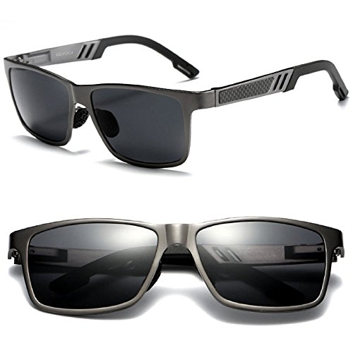 Polarized Men's Sunglasses with Adjustable Aluminum Frame 146mm for Medium / Wide Faces (Pewter Gray Frame / Black Smoke - For Wide Faces Sunglasses