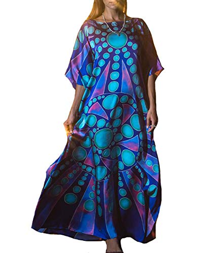 Bigbigfuture Women's Print Kaftan Loungewear Caftan Beach Long Dress Bikini Swimsuit Cover up Swimwear (Blue A) ()